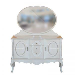 102100289-تبری-فشکی-آینه-و-کنسول-بیضی-دو-درب-سه-کشو-سفید-خش