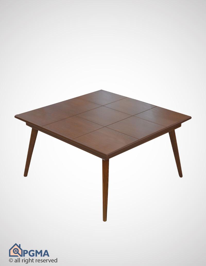 جلو مبلی مربع شطرنجی پایه خراطی دو عسلی فندوقی بدون شیشه 100301199 پی جی ما (1)